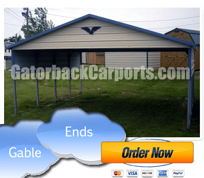12x21x7 Vertical Roof Style Carport With Front And Rear