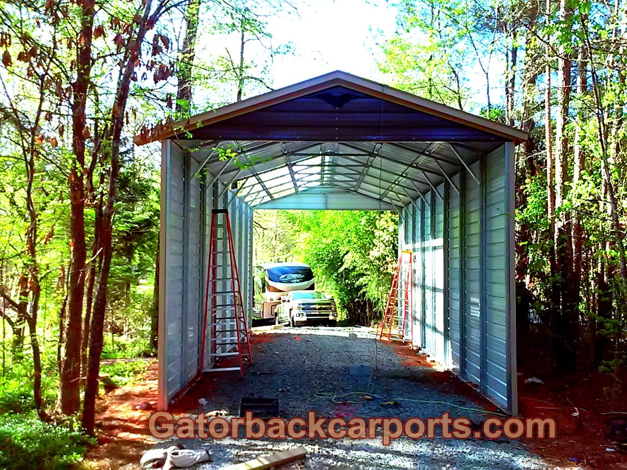 Rv carports rv covers rv garages gatorback carports for Carports with sides