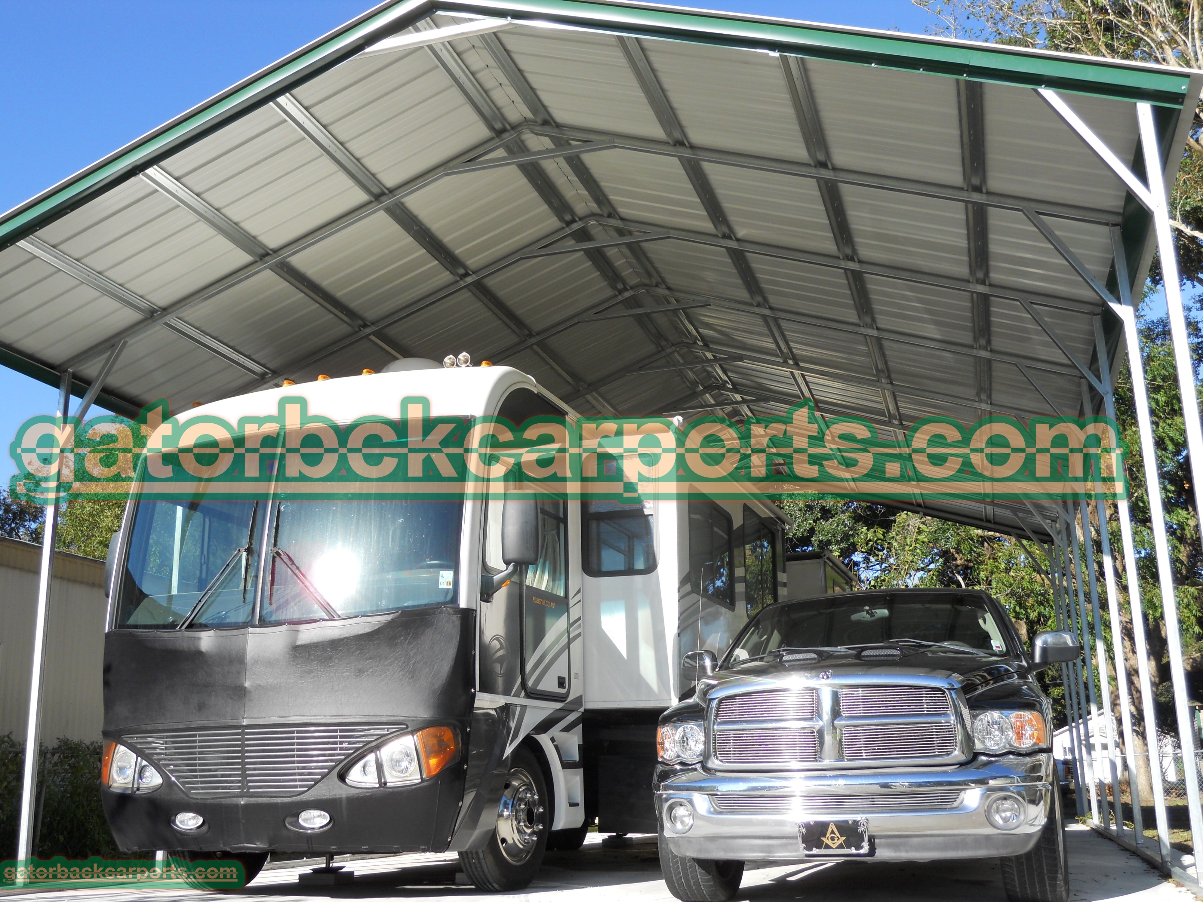 Rv covers texas rv carports tx gatorback carports for Carports for motorhomes