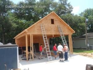 Steel garage save 50 gatorback carports for Garage and carport combination