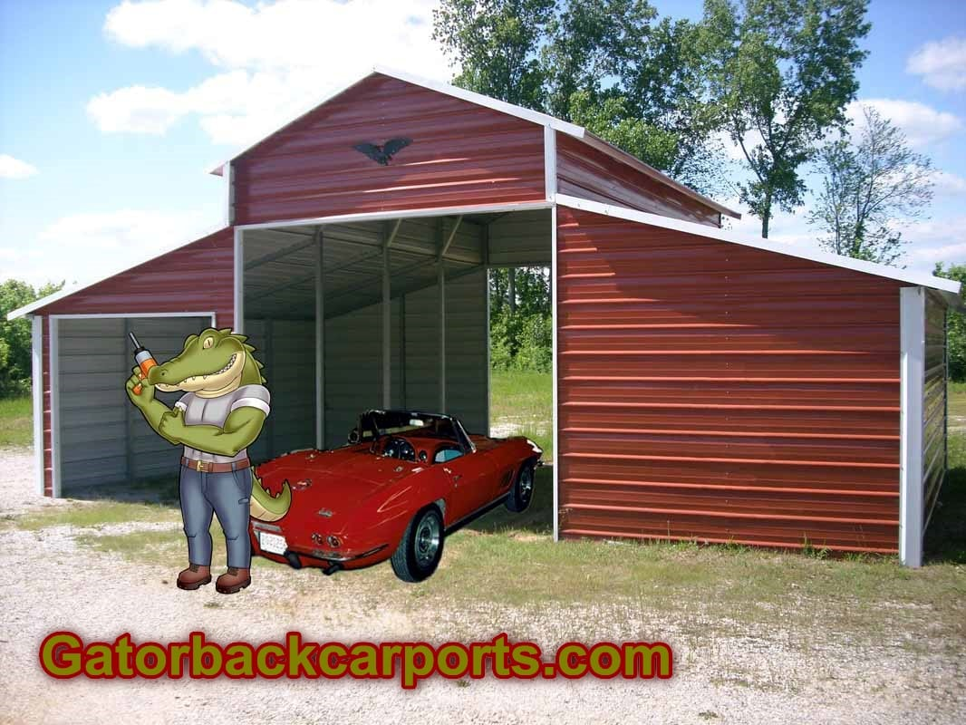 Carports metal carports metal garages barns gatorback for Garages and carports
