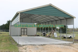 Vertical Single Leg RV Carport with side panels and Gable End