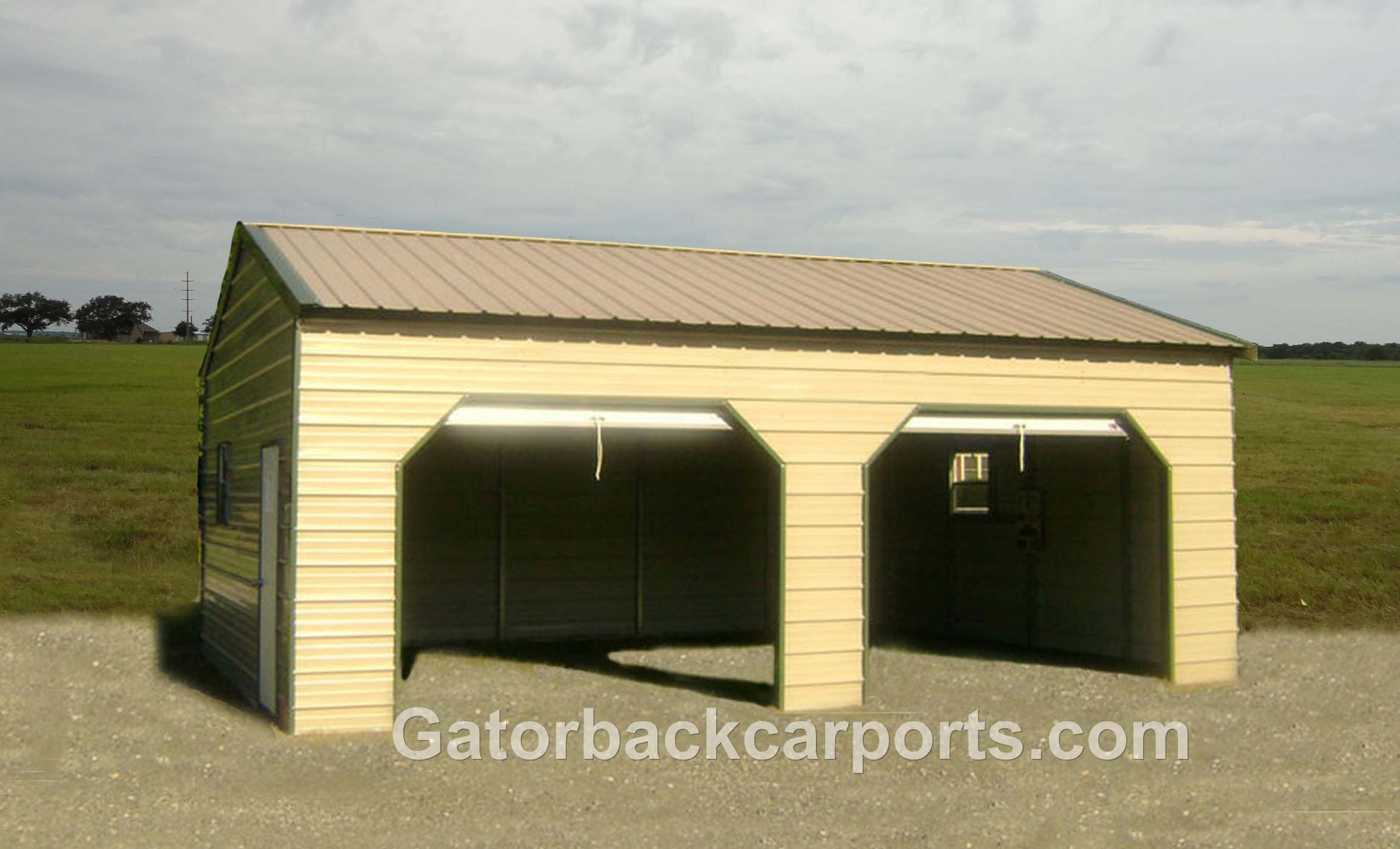 Garages gallery gatorback carports for Garage side entry door