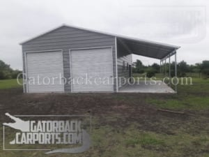 metal garage with attached carport