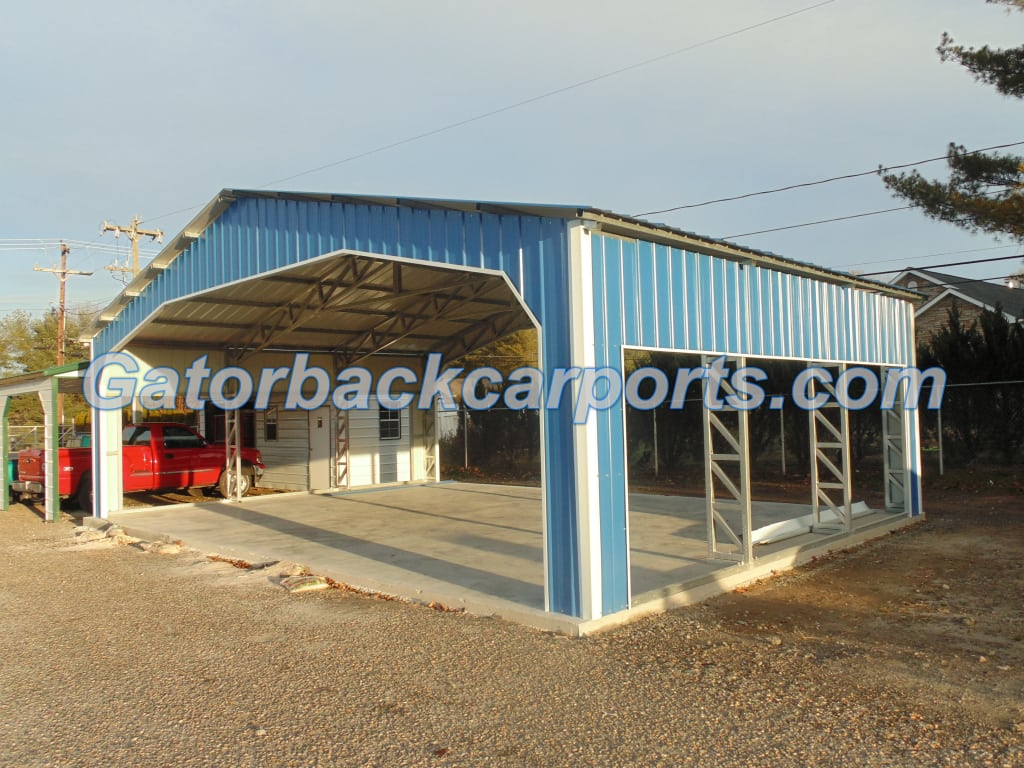 Commercial Steel Garages With An Overhand : Commercial metal buildings gatorback carports