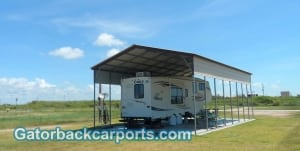 Vertical Roof RV Carport with 1 Panel on sides