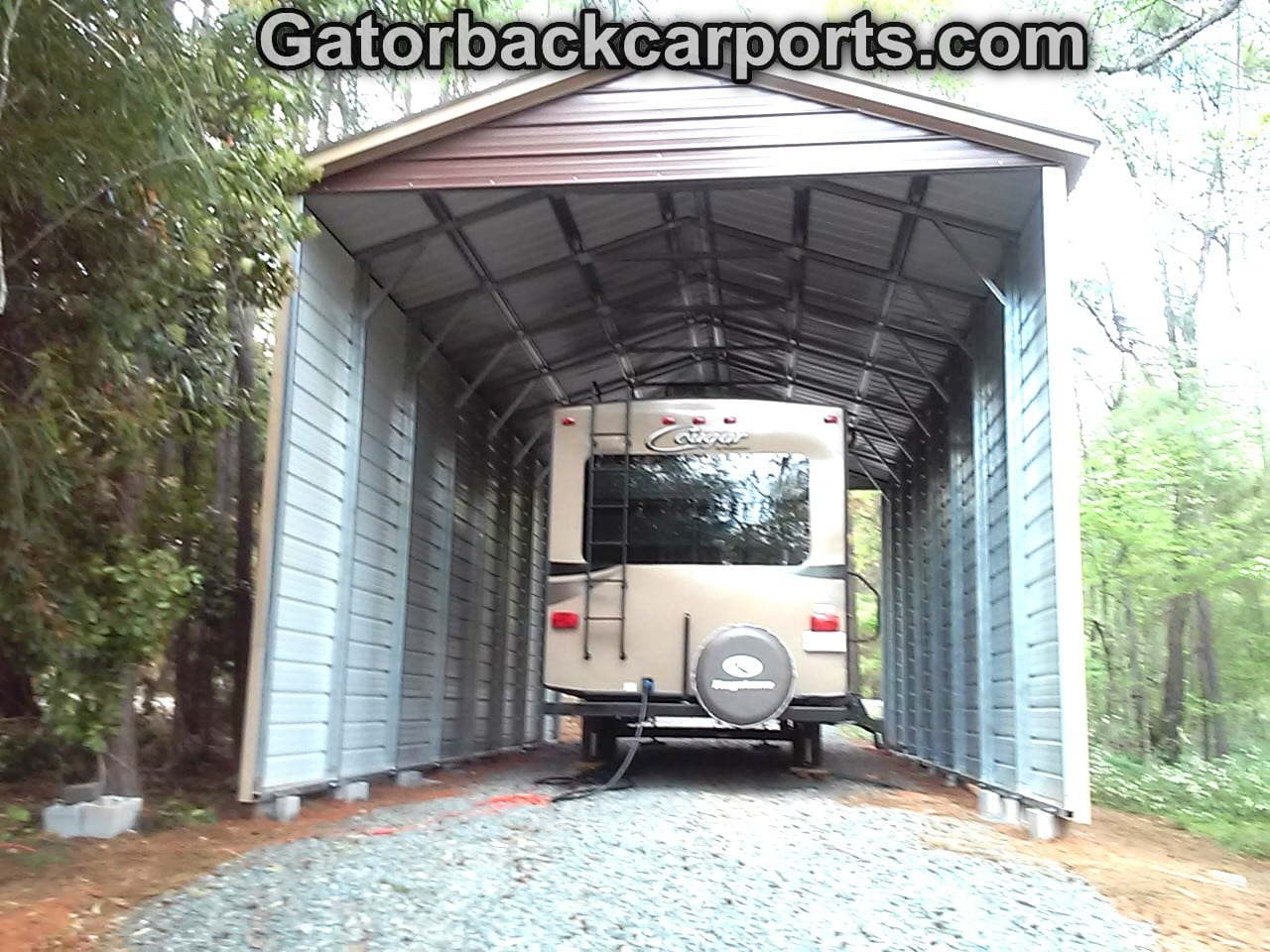 Rv carports rv covers rv garages gatorback carports for Rv trailer with garage