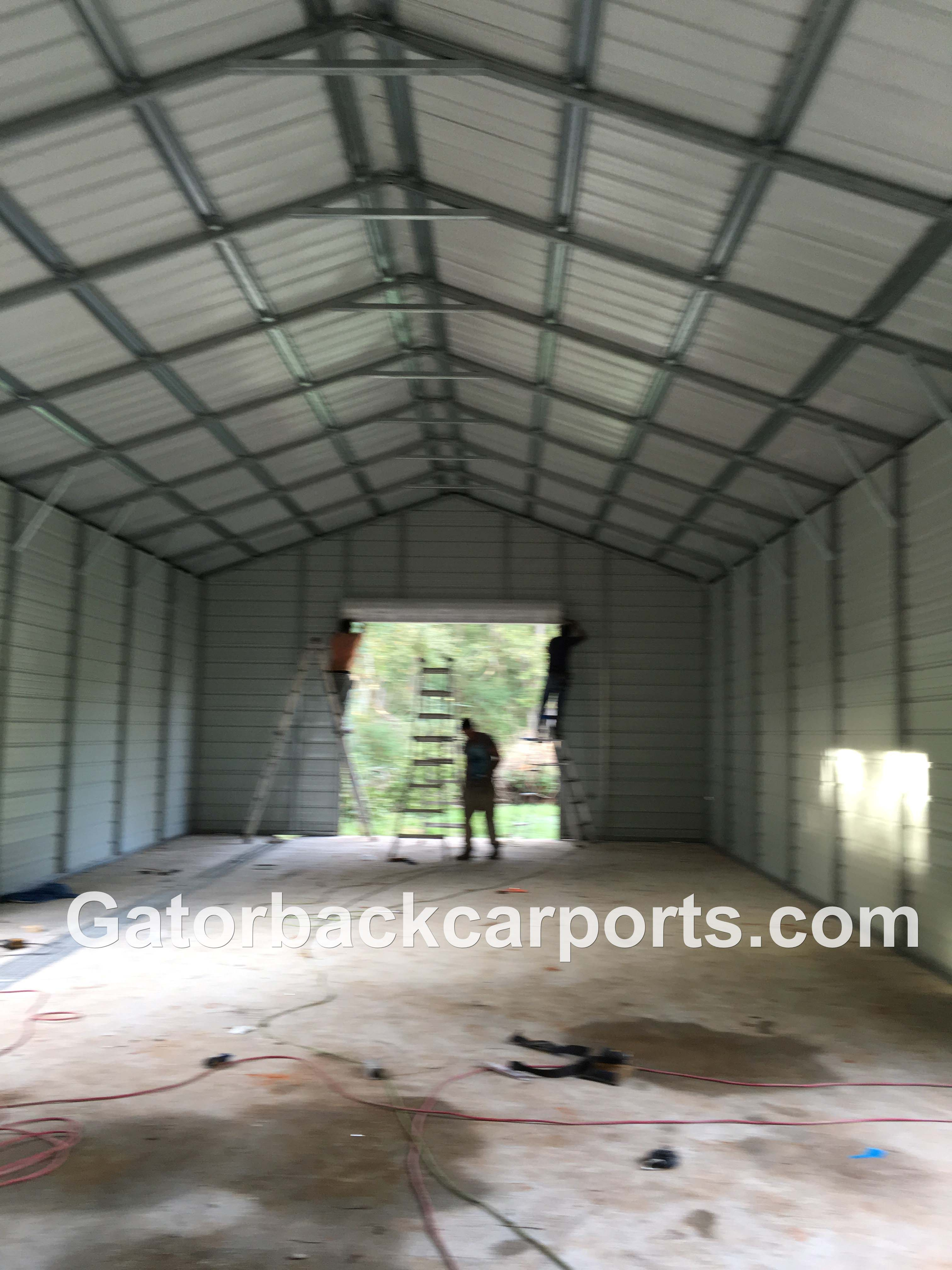 look inside a steel garage job gatorback carports look inside a steel garage job