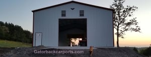 40 wide by 50 Steel Garage long with 16-foot tall side legs and a 14 x 14 Roll Up Door
